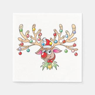 Cute Rudolf Reindeer with Christmas Lights Cards Napkin