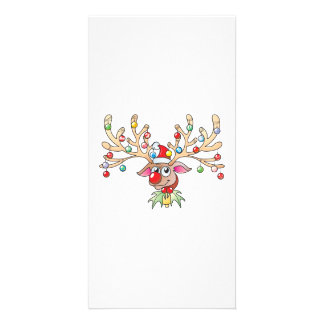 Cute Rudolf Reindeer with Christmas Lights Cards Photo Greeting Card