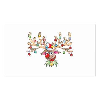 Cute Rudolf Reindeer with Christmas Lights Invites Business Card