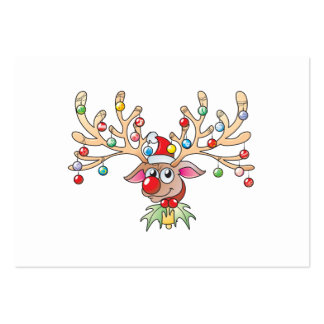 Cute Rudolf Reindeer with Christmas Lights Invites Large Business Card