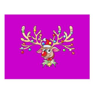 Cute Rudolf Reindeer with Christmas Lights Invites Postcard