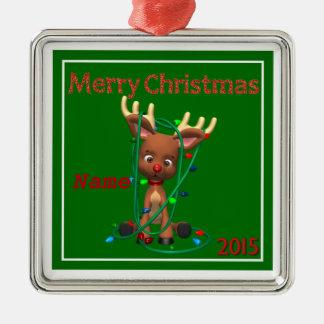 """Cute Rudolph Christmas 2015"" Premium Ornament"