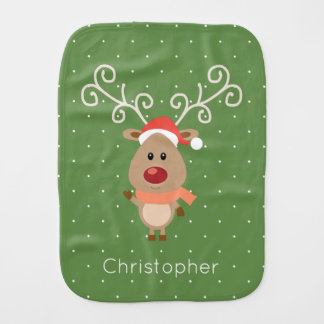 Cute Rudolph the red nosed reindeer cartoon Baby Burp Cloth
