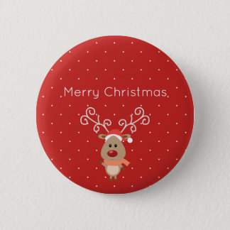 Cute Rudolph the red nosed reindeer cartoon Button