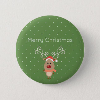 Cute Rudolph the red nosed reindeer cartoon Pinback Button
