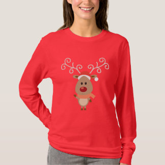 Cute Rudolph the red nosed reindeer cartoon T-Shirt
