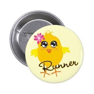 Cute Runner Chick Pinback Button