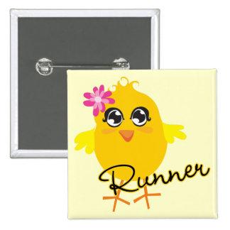Cute Runner Chick Pinback Buttons