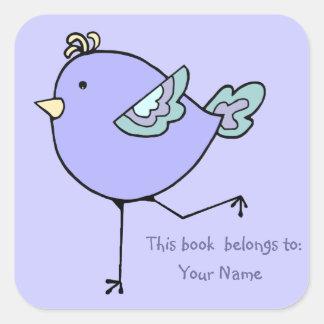 Cute Runnin Bird This book belongs to  Bookplate Square Sticker