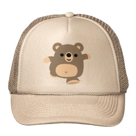 Cute Running Cartoon Bear Trucker Hat