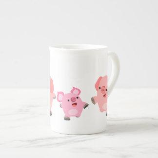Cute Running Cartoon Pigs Tea Cup