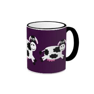 Cute Running Cows Purple & Black Ringer Mug