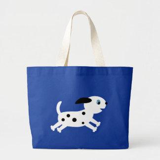 Cute running dalmatian cartoon puppy tote bags
