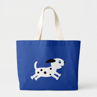 Cute running dalmatian cartoon puppy large tote bag