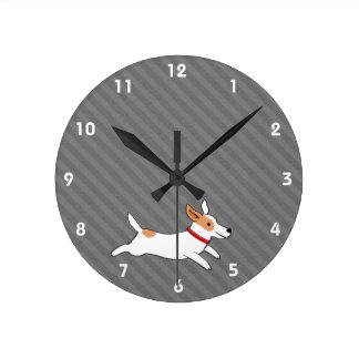 Cute Running Jack Russell Terrier Cartoon Dog Round Clock