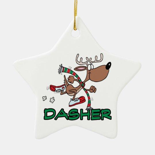 cute running reindeer DASHER cartoon Ceramic Ornament