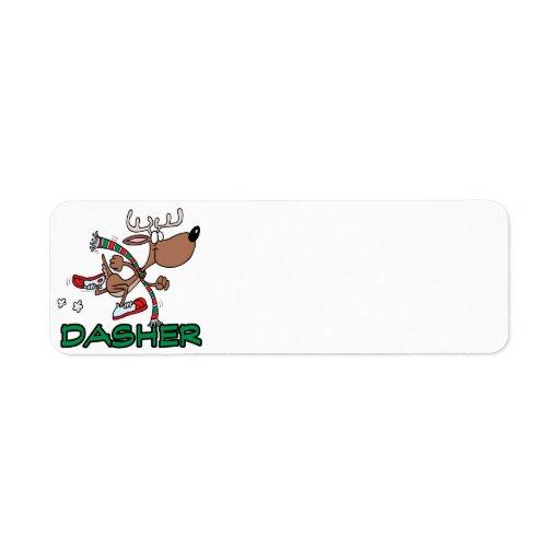 cute running reindeer DASHER cartoon Return Address Labels