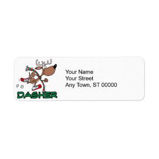 cute running reindeer DASHER cartoon Label