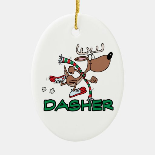 cute running reindeer DASHER cartoon Christmas Tree Ornament