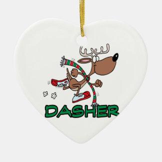 cute running reindeer DASHER cartoon Ornaments