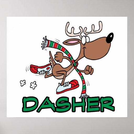Cute running reindeer dasher cartoon poster zazzle