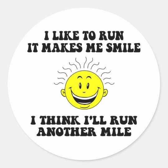 Cute running saying classic round sticker