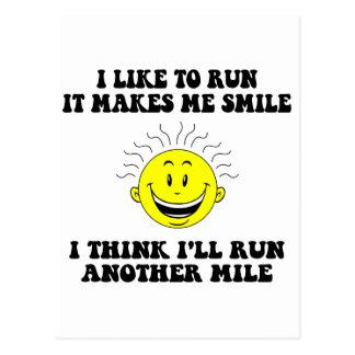 Cute running saying postcard