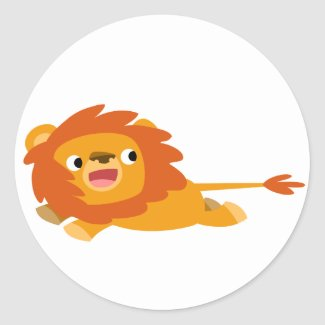 Cute Rushing Cartoon Lion Sticker sticker