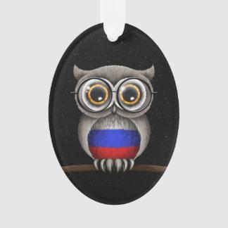 Cute Russian Flag Owl Wearing Glasses Ornament