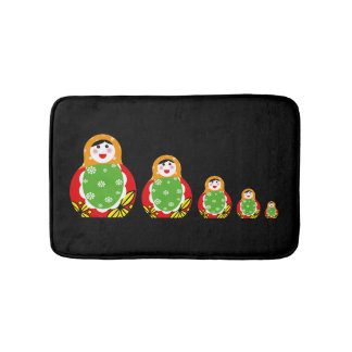 cute Russian nesting dolls pattern Bathroom Mat