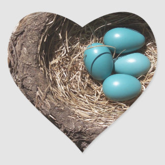 Cute Rustic Bird's Nest Blue Robin Eggs Heart Sticker