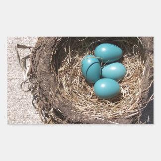 Cute Rustic Bird's Nest Blue Robin Eggs Rectangular Sticker