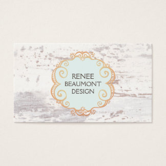 Cute Rustic Country White Wood Business Card