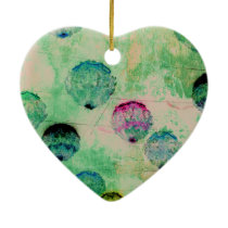 Cute, rustic, digital art round brush strokes ceramic ornament