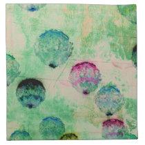 Cute, rustic, digital art round brush strokes cloth napkin