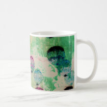 Cute, rustic, digital art round brush strokes coffee mug