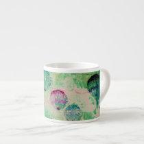 Cute, rustic, digital art round brush strokes espresso cup