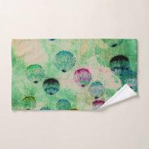 Cute, rustic, digital art round brush strokes hand towel