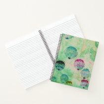 Cute, rustic, digital art round brush strokes notebook