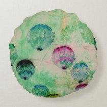 Cute, rustic, digital art round brush strokes round pillow