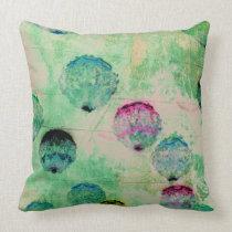 Cute, rustic, digital art round brush strokes throw pillow