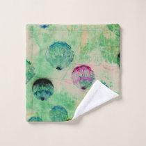 Cute, rustic, digital art round brush strokes wash cloth