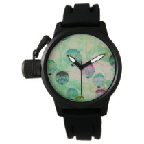 Cute, rustic, digital art round brush strokes watch