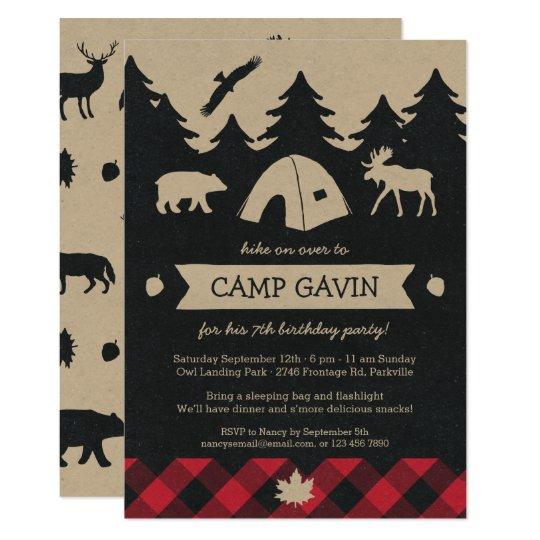 Cute Rustic Flannel Camping Birthday Party Invite Zazzlecom