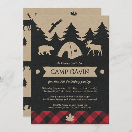 Cute Rustic Flannel Camping Birthday Party Invite
