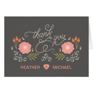 Cute Rustic Floral Thank You Cards