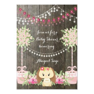 Cute Rustic Girl Bunny, Pink Flowers Baby Shower 5x7 Paper Invitation Card