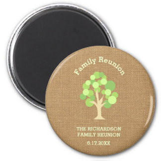 Cute Rustic Green Tree and Burlap Family Reunion 2 Inch Round Magnet