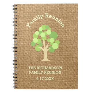 Cute Rustic Green Tree and Burlap Family Reunion Notebook