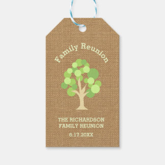 Cute Rustic Green Tree and Burlap Family Reunion Pack Of Gift Tags